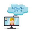 online game computer girl man charatcer cloud vector image
