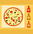 pizza in a box and sauce bottles set vector image