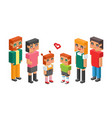 3d isometric family couple children kids people vector image