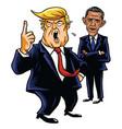 Donald trump and barack obama cartoon caricature vector image