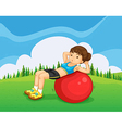 A young lady exercising with a bouncing ball in vector image vector image