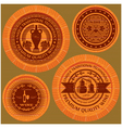 set of labels with wine on wooden casks vector image vector image