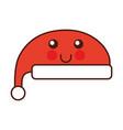 kawaii christmas hat clothes of santa cartoon vector image
