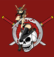 Ninja Girl with Double Sword Pin Up vector image