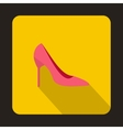 Pink high heels icon flat style vector image
