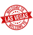 welcome to Las Vegas red round ribbon stamp vector image