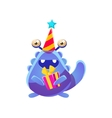 Blue Toy Monster In Party Hat With Present vector image