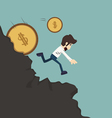 Businessman pushing coin vector image