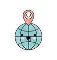 kawaii world globe and kawaii map pointer on top vector image