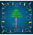 Christmas tree with garland winter postcard vector image
