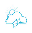 line cute cloud with sun and thunder weather vector image