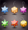 christmas glossy tags  snowflakes vector image vector image