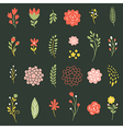 set of flowers on black background vector image vector image