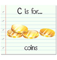 Flashcard letter c is for coins vector image