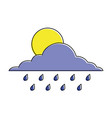 cloud sun and drops rain weather sky vector image