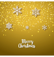 Festive golden background with snowflakes Xmas vector image
