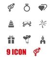 grey wedding icon set vector image