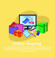 online shopping baner concept with computer vector image