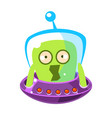 Scared green alien cute cartoon monster colorful vector image
