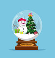 snow globe and christmas tree with balls and vector image