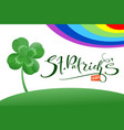 st patrick s day text greeting card and luck leaf vector image