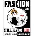 Vintage poster girl fashion vector image