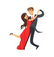 Young happy couple dancing tango colorful vector image