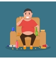 Cartoon fat man sitting on couch eat junk food vector image