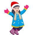 Funny girl cartoon wearing winter clothes vector image