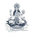 silhouette godess laxmi lotus