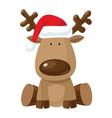 Reindeer in Christmas hat vector image