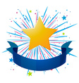 Banner design with blue ribbon and yellow star vector image