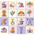 Circus icons set flat line vector image