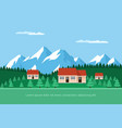 houses in the forest vector image