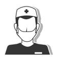 Nurse silhouette man mask design vector image