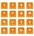 palm tree icons set orange vector image