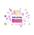 services banner technical support client help vector image