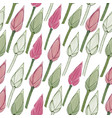 simple floral pattern seamless lotus buds vector image