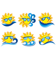 Smiling Sun set vector image