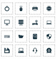 laptop icons set collection of router hdd power vector image