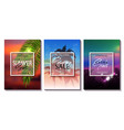 set of summer sale template banner tropical vector image