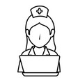 woman nurse with laptop avatar character vector image
