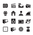 Silhouette Computer and mobile phone icons vector image