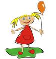 girl with ballloon vector image vector image