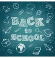 School supplies and greeting text vector image