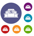 airport baggage scanner icons set vector image