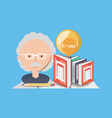 man teacher chemistry with books and bulb vector image