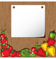 vegetables on wooden background vector image