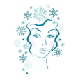 Winter girl with blue snowflakes hair vector