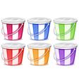 Six colorful pails vector image